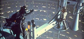 Luke tries to escape from Vader, only to loose a hand and find out a terrible secret